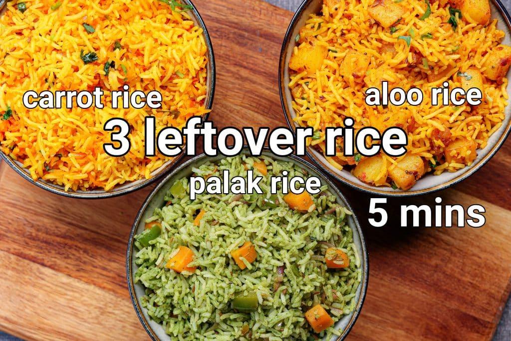 3 veggie rice recipe   instant lunch box rice recipes   leftover lunch box ideas